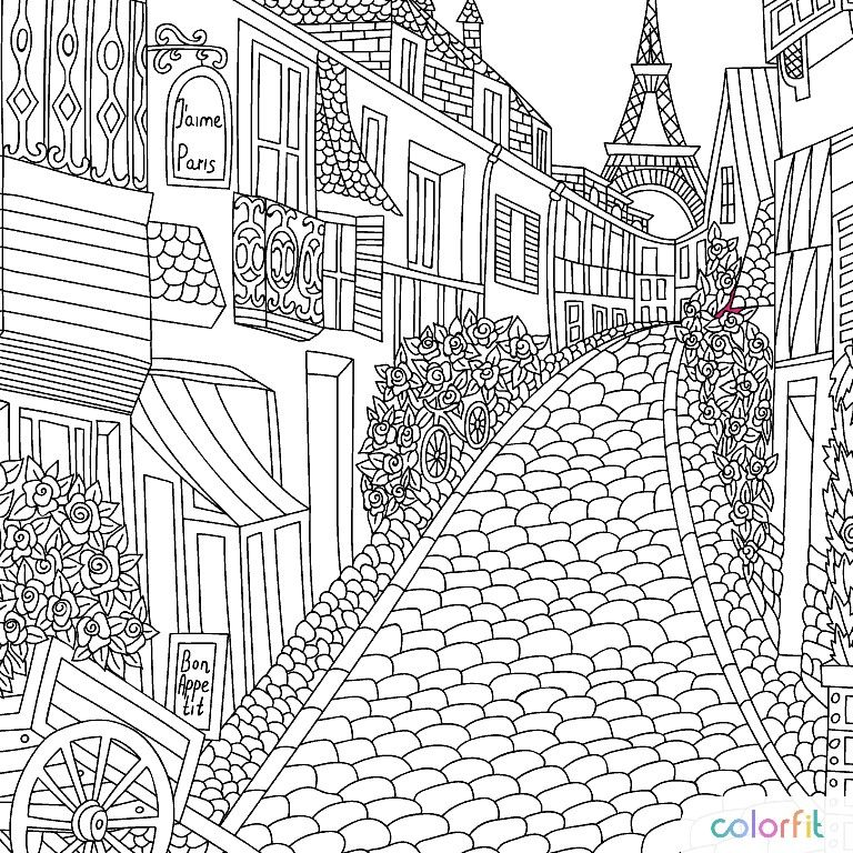 A Quiet Little Village Street Libros Para Colorear