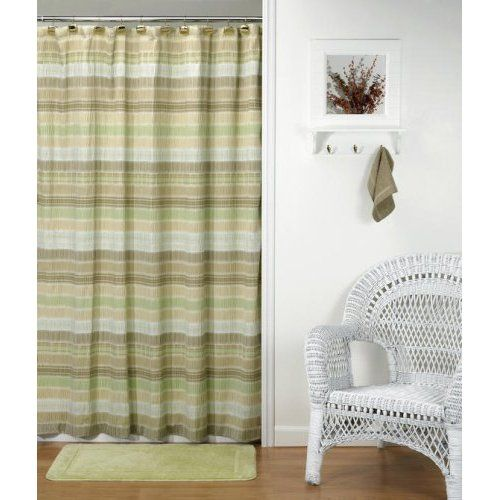Sage green tan brown earth tones striped crinkle fabric for Bathroom decor earth tones
