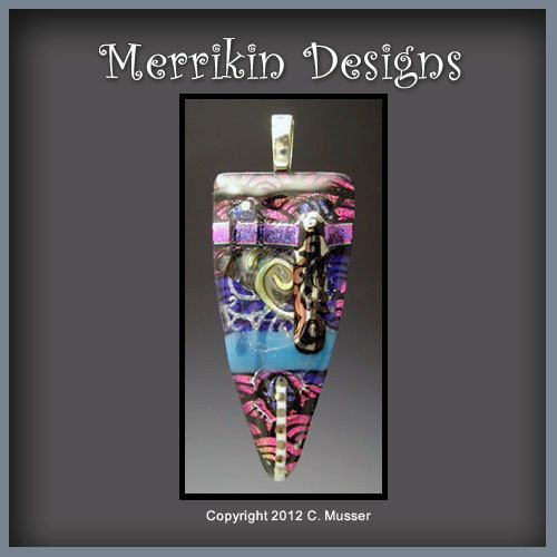 Fused Dichroic Glass Pendant by merrikindesigns on Etsy, $24.00