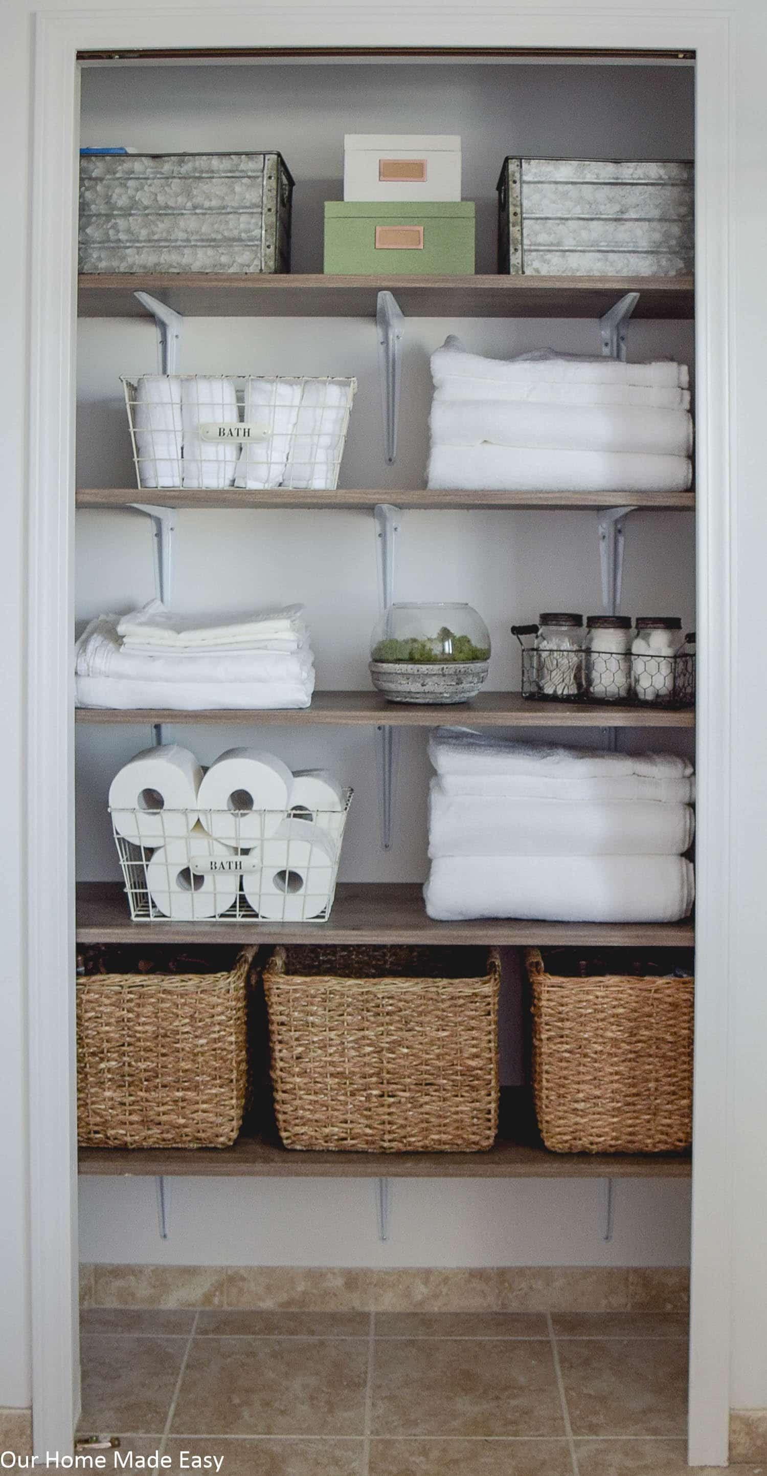 bathroom linen closet reveal home linen closet pinterest rh pinterest com Hall Closet Makeover Linen Closet Organization