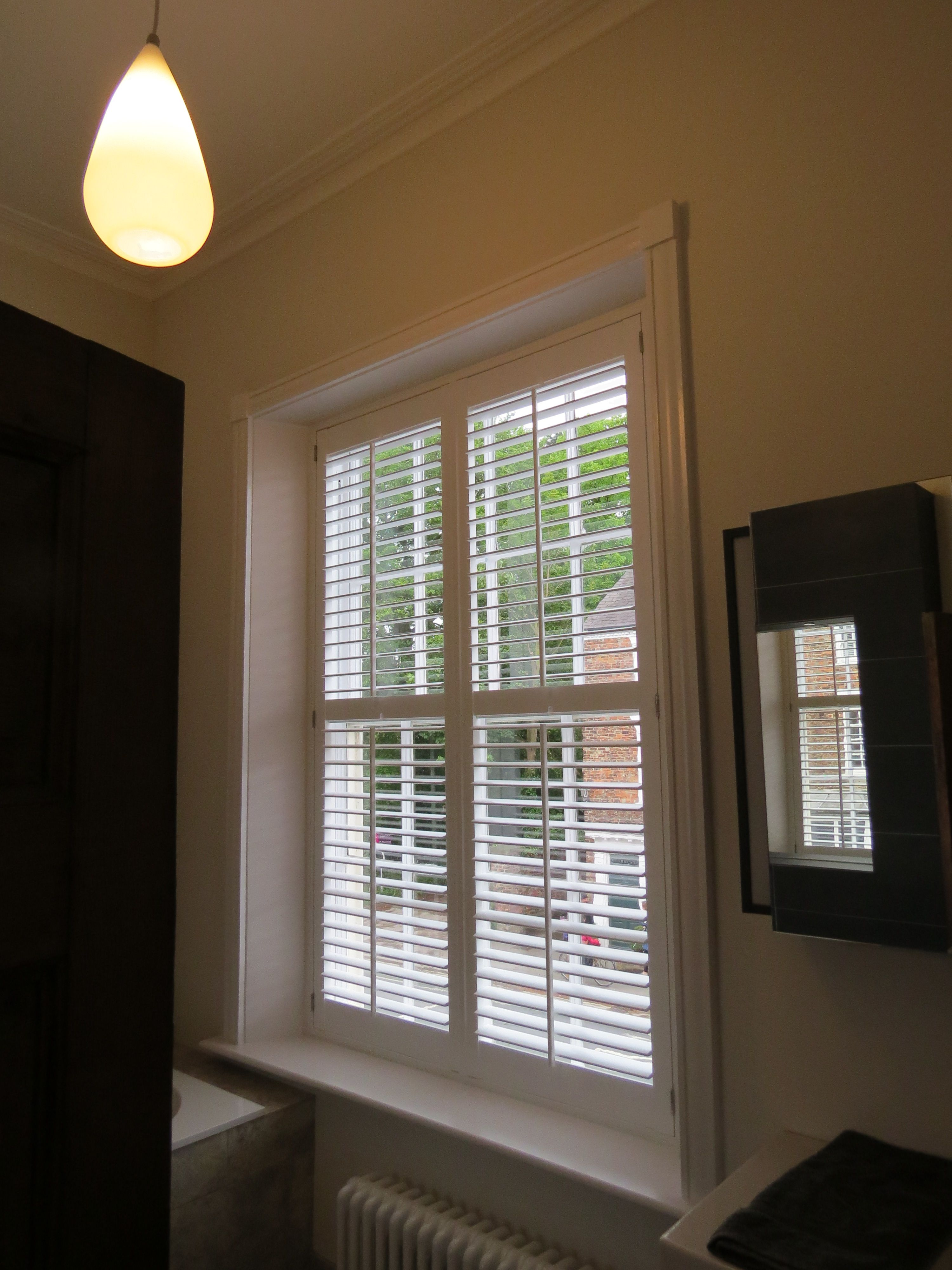 Waterproof Bathroom Shutter Ed By Us To A Large Sash Window Colour Is Silk White