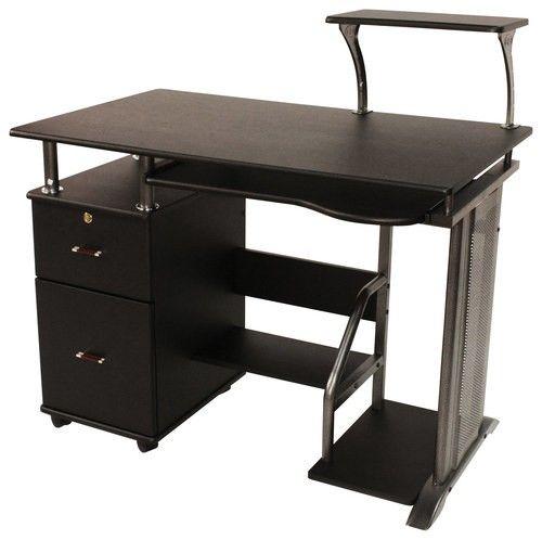 Comfort Products Inc Rothmin Computer Desk Black 50 100505 Black Desk Desk With Drawers Hideaway Computer Desk