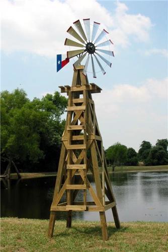 15 Lonestar Decorative Windmill With Texas Flag Rudder Wooden