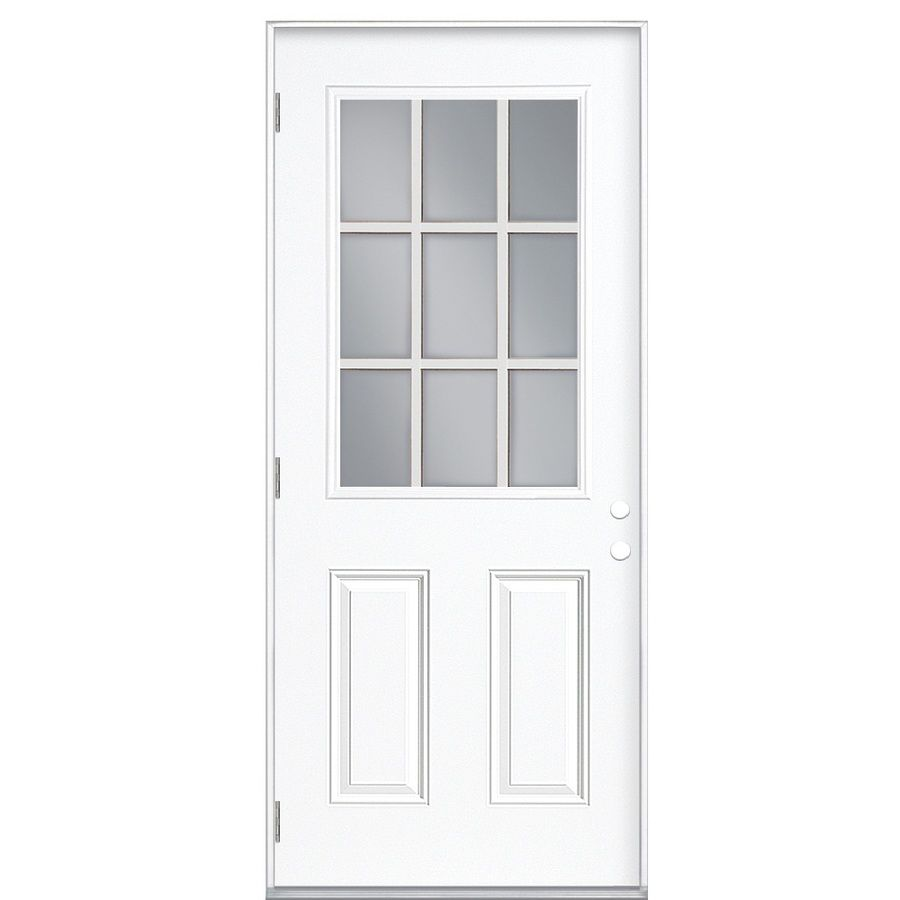Masonite Insulating Core Right Hand Outswing Steel Primed Prehung Entry Door  (Common: X Actual: X