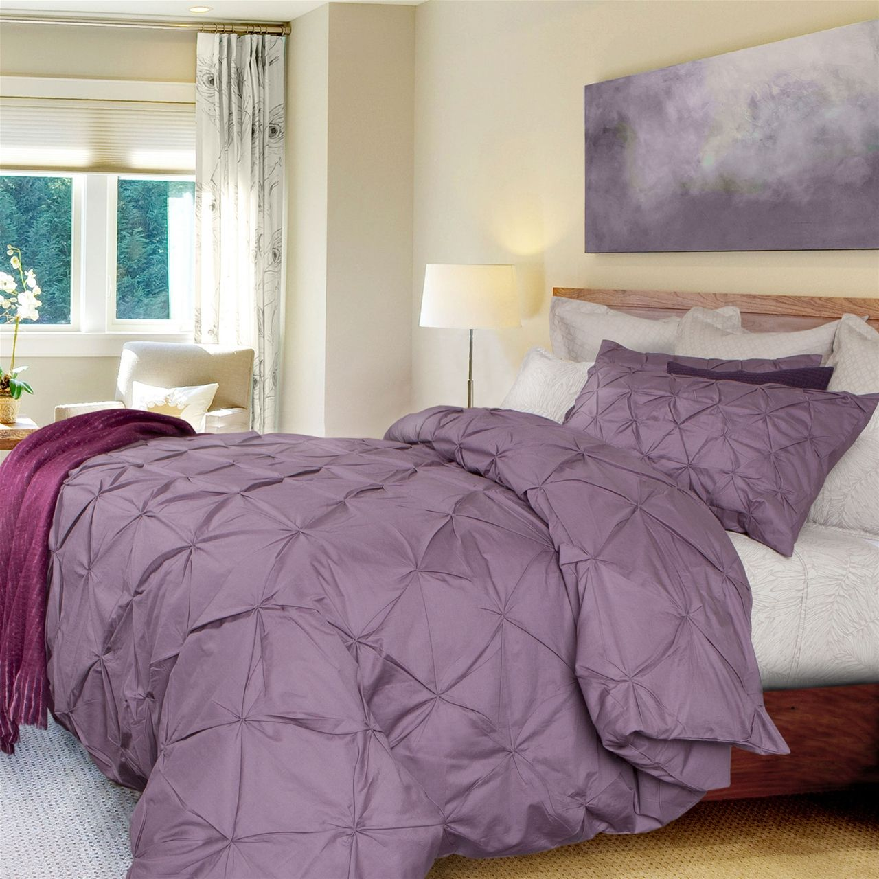 Pintuck Duvet Cover Set   Purple: Like A Cloud Floating On Top Of Your Bed