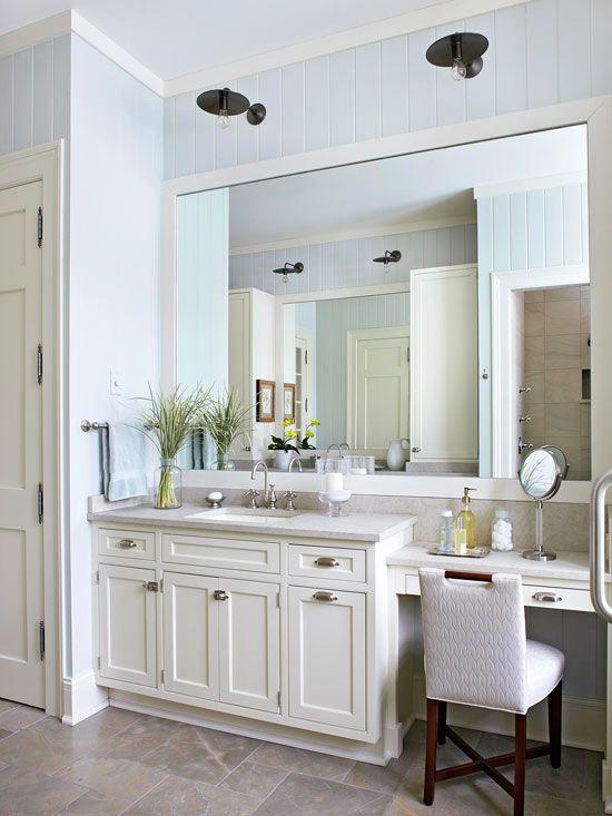 Our Best Bathroom Lighting Ideas Master Bathroom Vanity Bathroom With Makeup Vanity Best Bathroom Lighting Bathroom vanity and makeup table