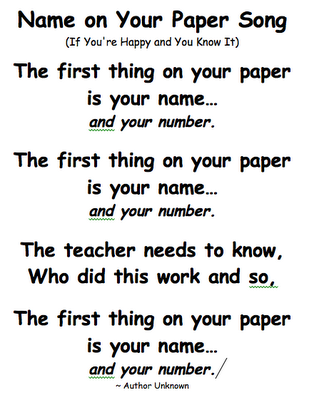name and number on your paper song