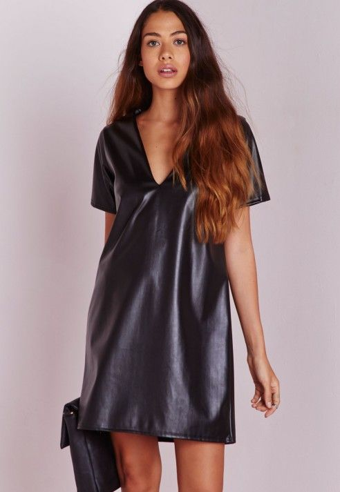 Vamp Up Your Look This Season With This Black Faux Leather Shift