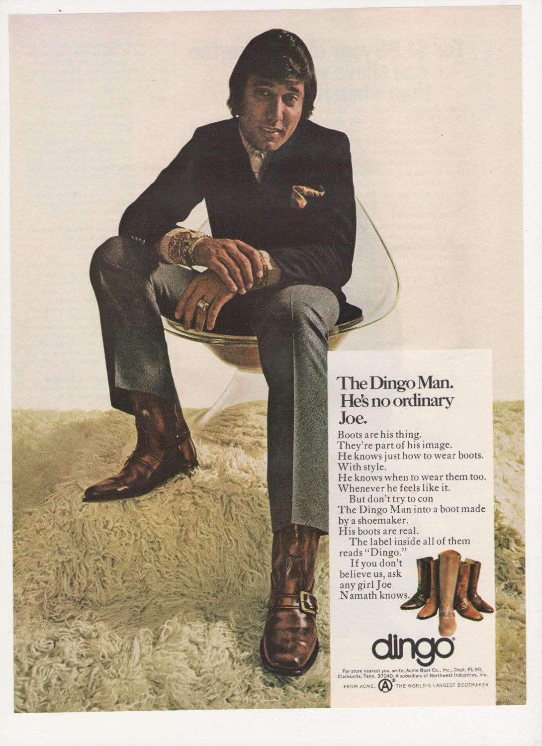 31e332af8e0 1970 Joe Namath Dingo Boots Advertisement NFL by fromjanet on Etsy ...