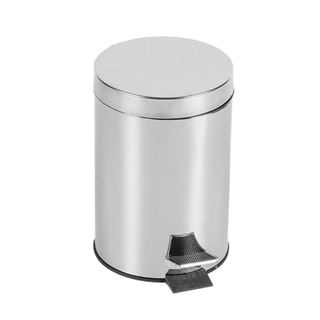 Home Round Stainless Steel Pedal Trash Can Sanitary Bucket Large