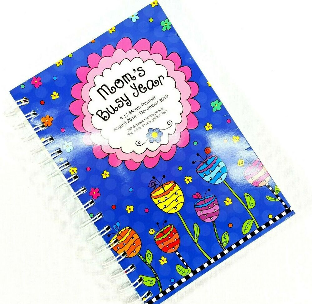 December 2019 Mom/'s Busy Year 2019 17-Month Planner With Stickers August 2018