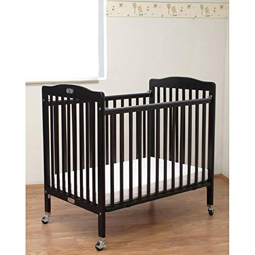 LA Baby Folding Wooden Compact Crib with 3-inch Mattress, Cherry. Convenient size folds compactly for easy storage. Features heavy-duty rubber swivel casters with metal bracing. Easy to maneuver from room to room, open or folded. Durable 3-inch Vinyl covered mattress included. Overall dimensions: 39 inches long x 26 inches deep x 38 inches high.