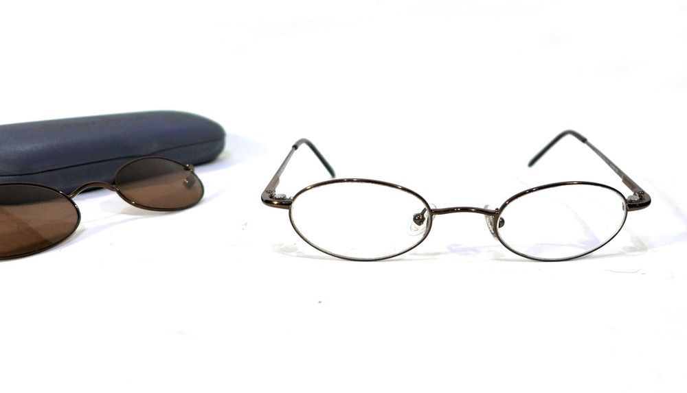 7f5de2d7dec Chesterfield CH663 Bronze Oval Eyeglass Frames With Magnetic Clip-Ons 46-21- 135