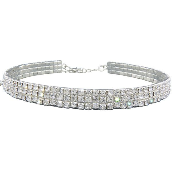 8208cba822 13332 3 Row Stretch Rhinestone Choker Necklace Crystal /Silver ($13 ...