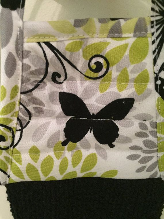 Butterfly Hanging Towel With Ties Handmade Black Butterfly