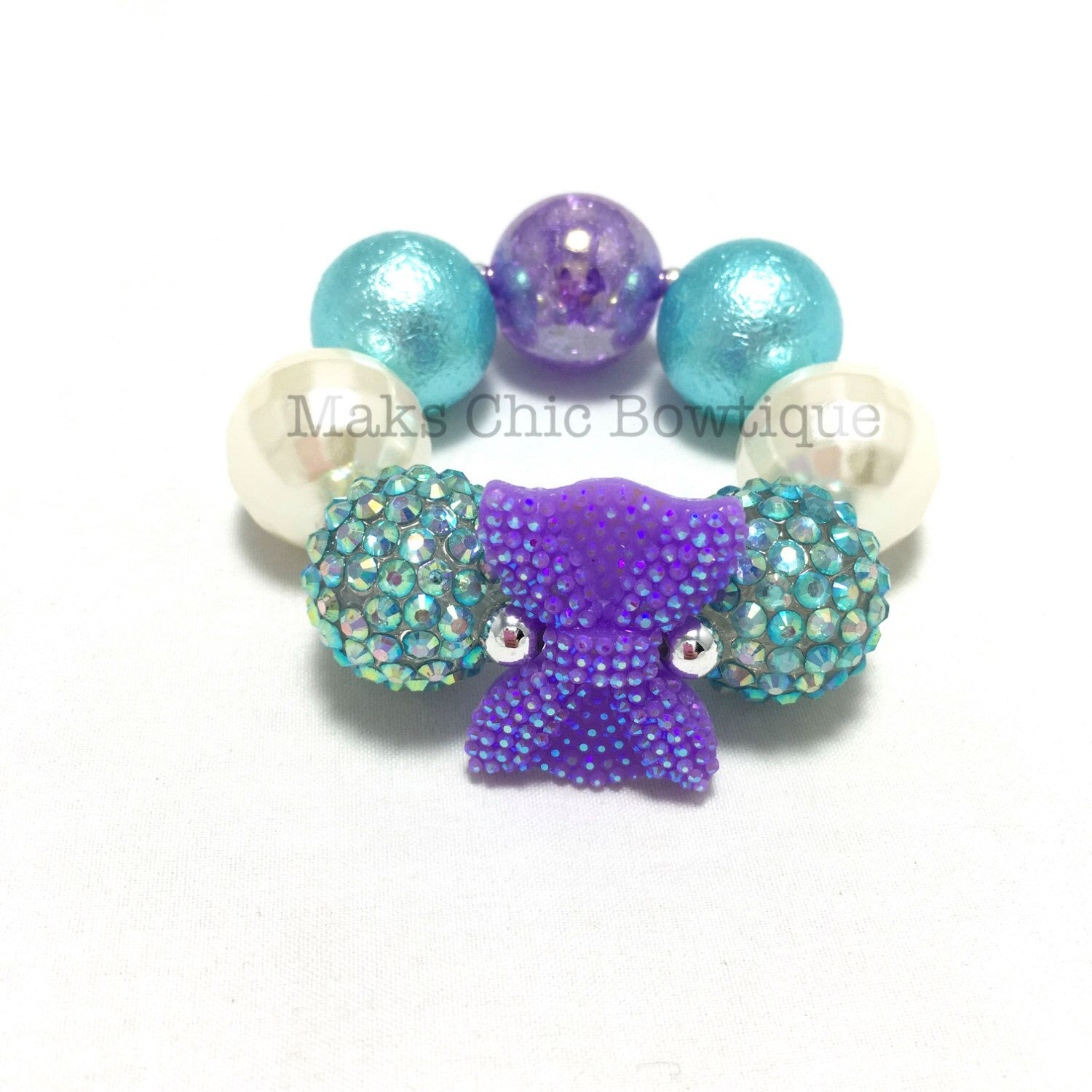 Toddler or girls bitty bow bling chunky bracelet girls mini purple