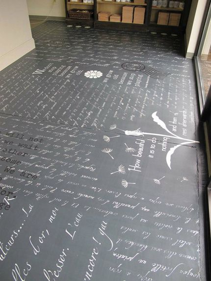 fugenloser boden mit schrift motiv einfach toll mehr infos unter. Black Bedroom Furniture Sets. Home Design Ideas