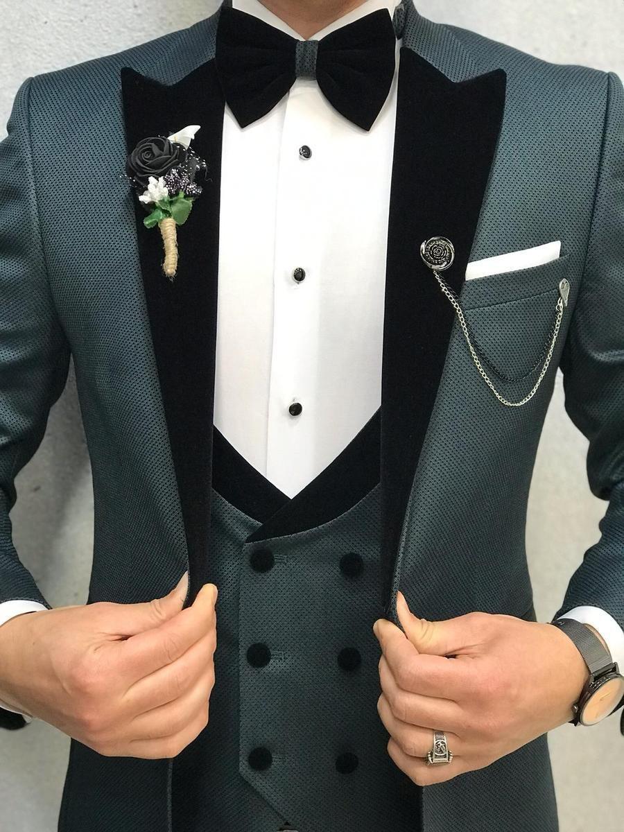 Royal Green Slim Fit Tuxedo in 2020 Designer suits for