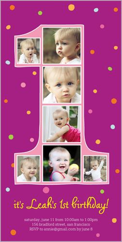 Number One Filmstrip Girl Birthday Invitation Shutterfly Com