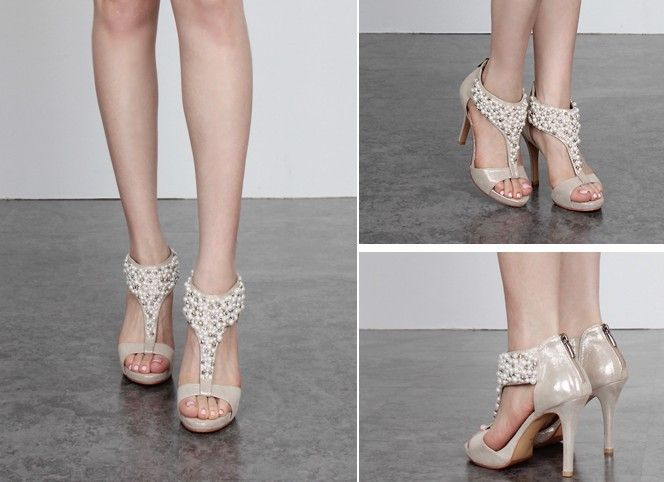 Buy Formal Prom Shoes Evening Wedding Designer Comfortable Like High Heel Pearl Open Back Zipper Sandals Black