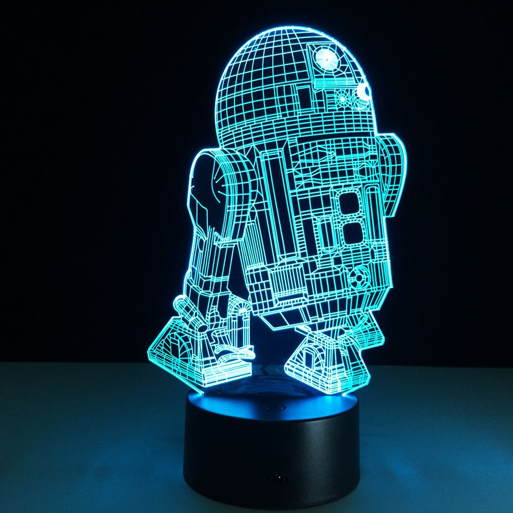 Star Wars R2d2 Figure 3d Led Night Light Lamp Star Wars Colorful Usb Led Acrylic Lighting Action Figure Led Night Lamp 3d Led Night Light Led Decorative Lights