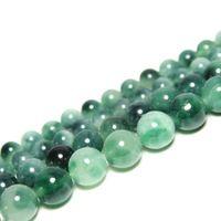 10 perlas de jade en verde claro 6 mm
