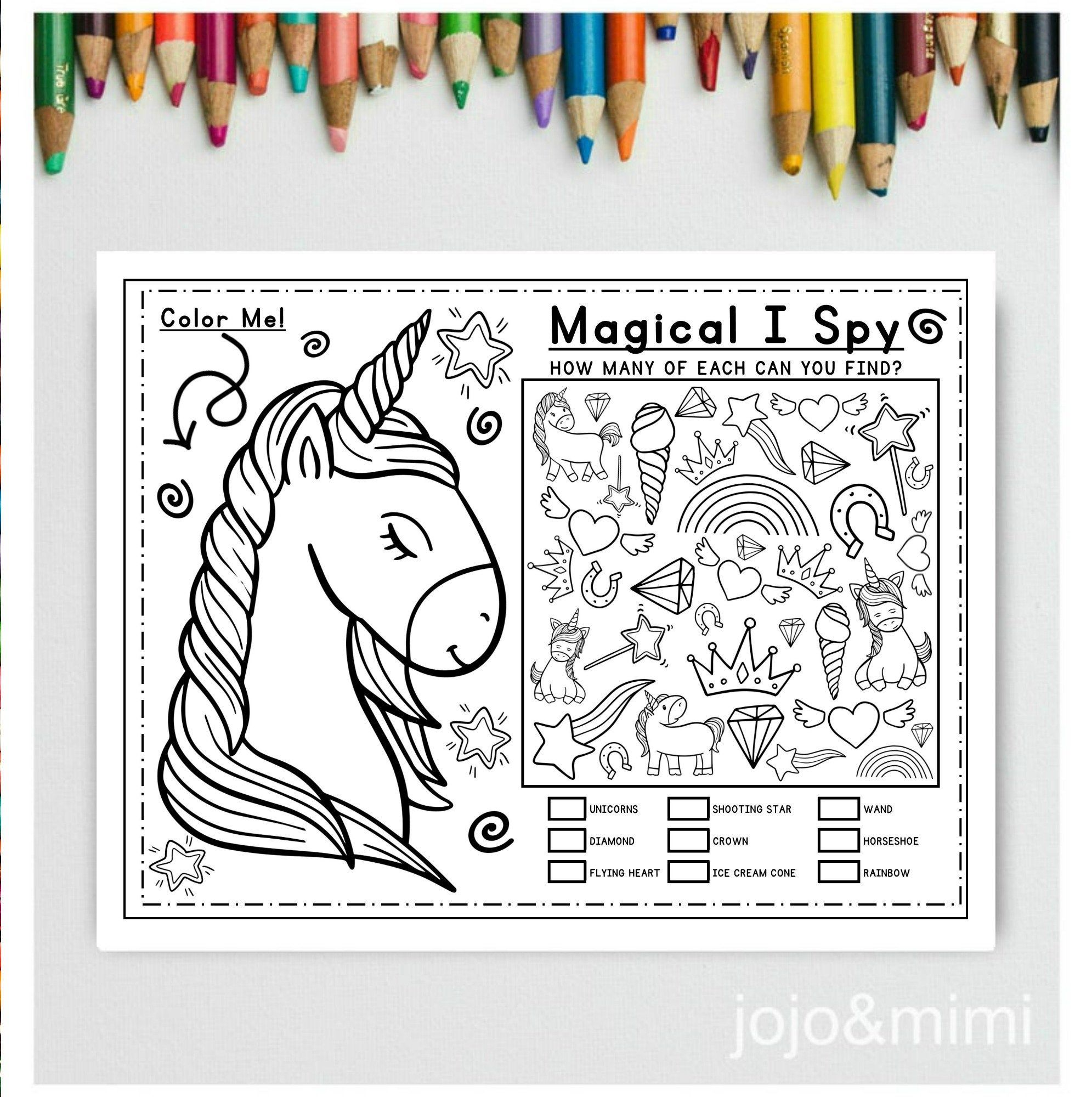 Unicorn Activity Coloring Page Magical I Spy Printable Activity Unicorn Birthday Party Placemat Birthday Game Unicorn Party Activity Game In 2020 Unicorn Coloring Pages Coloring Pages Business For Kids