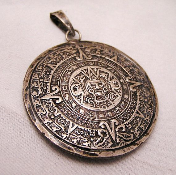 RESERVED For Arloco. Vintage Sterling Mayan Aztec Calendar