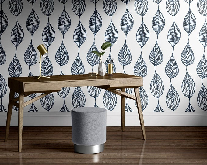 Peel And Stick Wallpaper Leaves Blue And White Removable Self Etsy Removable Wallpaper Peel And Stick Wallpaper Modern Wallpaper