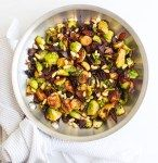 Brussels Sprouts with Balsamic Bacon and Pine Nuts - The Bettered Blondie #buffalobrusselsprouts