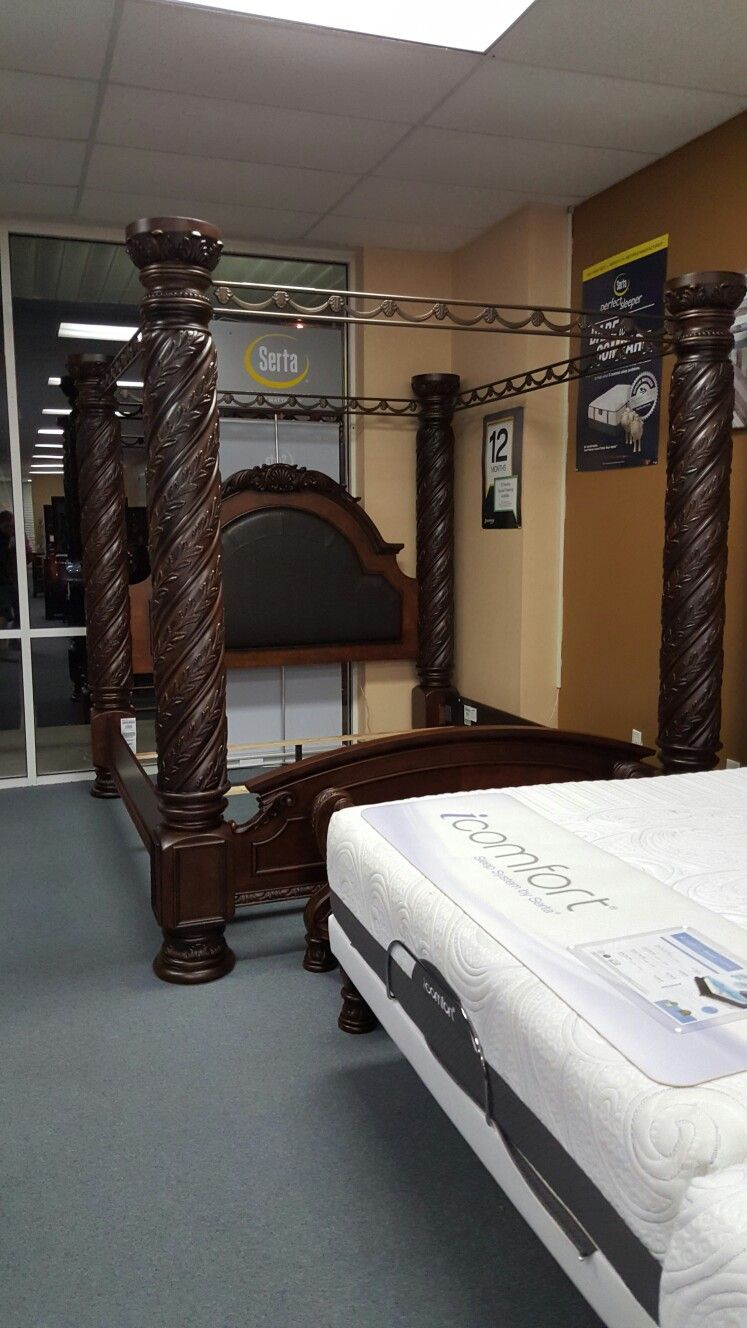 ashley northshore king canopy bed only 1498 at quality bedding and furniture in orange park. Black Bedroom Furniture Sets. Home Design Ideas