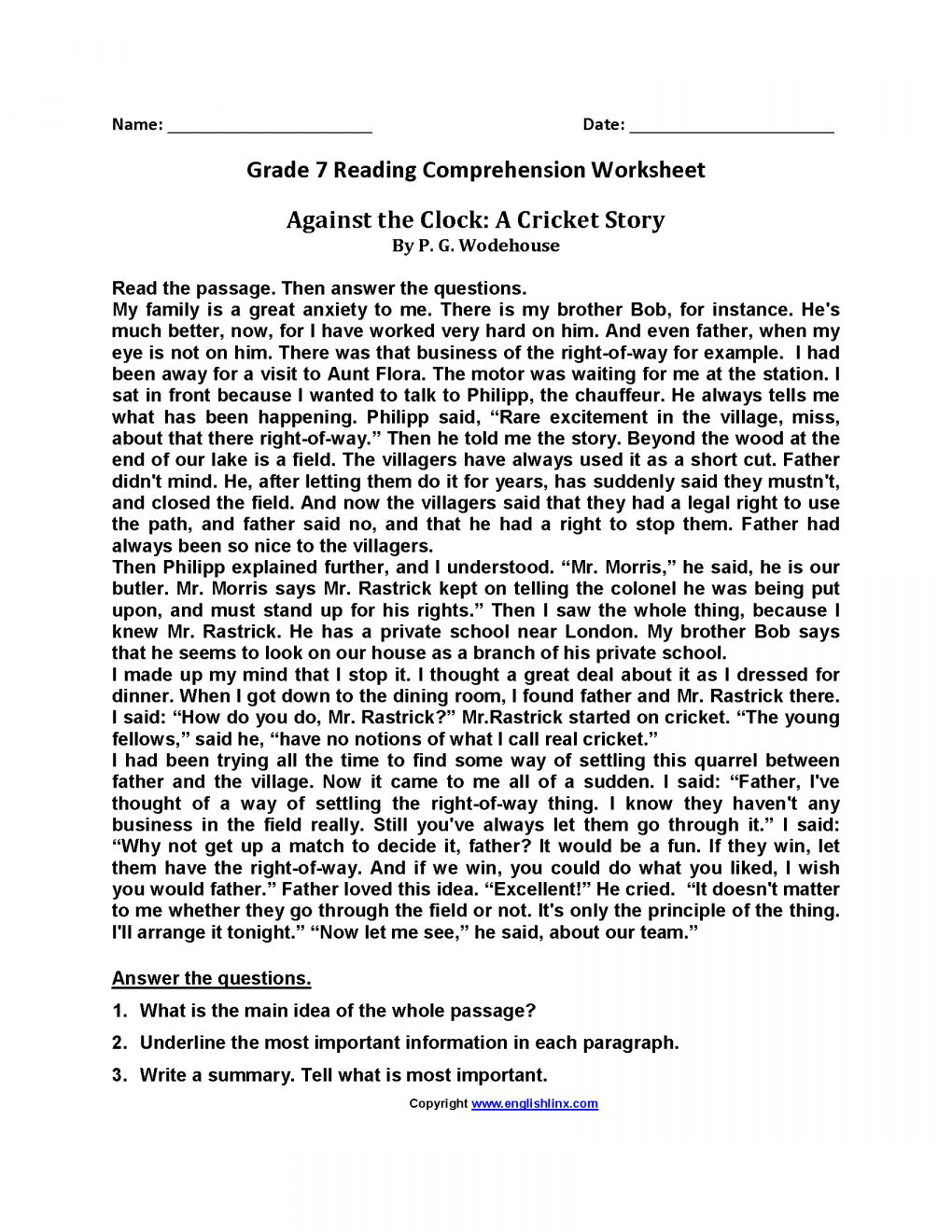 10 Reading Comprehension Grade 7 Worksheet Reading Comprehension Worksheets Comprehension Worksheets Reading Worksheets