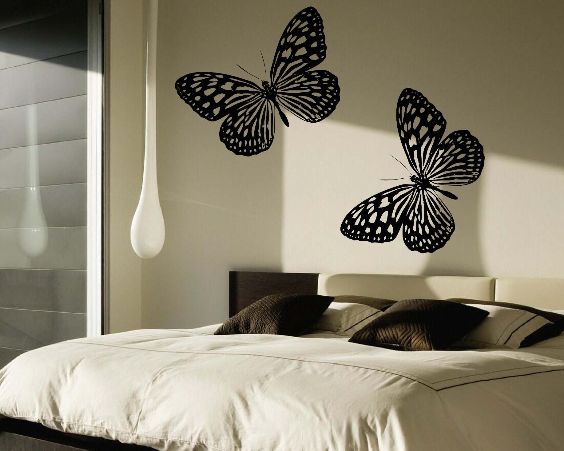 Black large butterflies wall decal on a white wall wall decal black large butterflies wall decal on a white wall amipublicfo Choice Image
