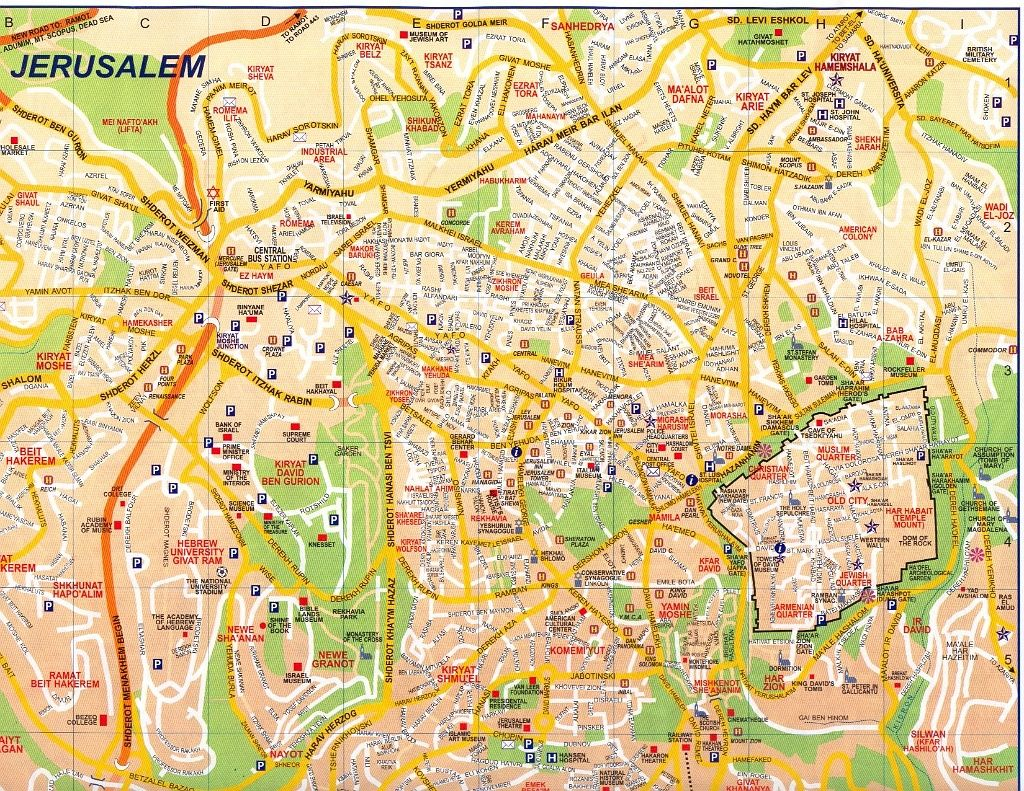 World Map Finder Of Jerusalem. Jerusalem jpg  Map The Old City is at bottom right enclosed within