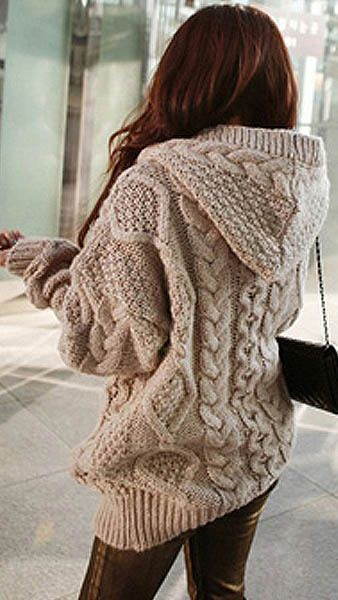 Need to add this sweater to my wardrobe! - Knitting Journal. Stylish  Women s Cable-Knit Hooded Cardigan~ SAMMYDRESS!! Chunky Sweaters 797295395