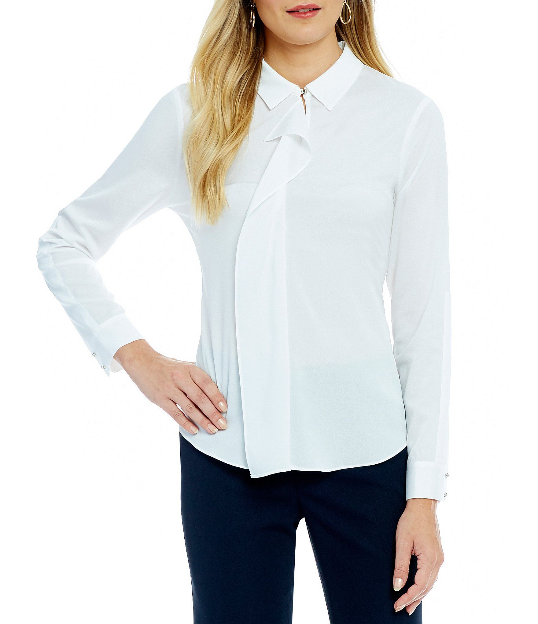 Shop For Ivanka Trump Convertible Collar Ruffle Front Long Sleeve