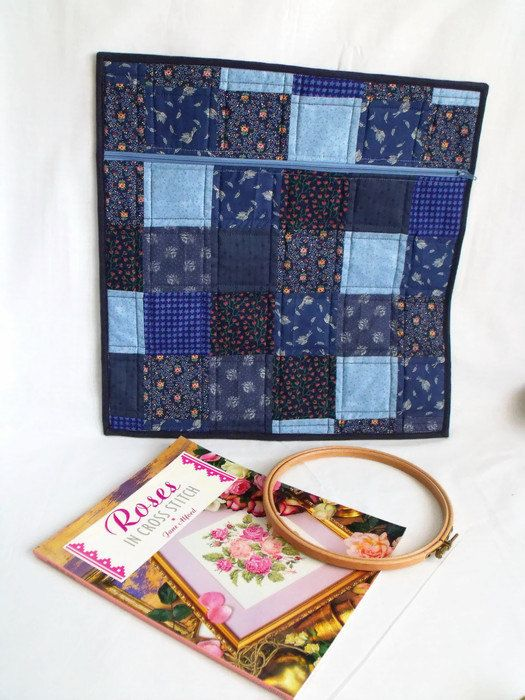 Cross stitch bag, colouring book storage, large zipped pouch, craft ...