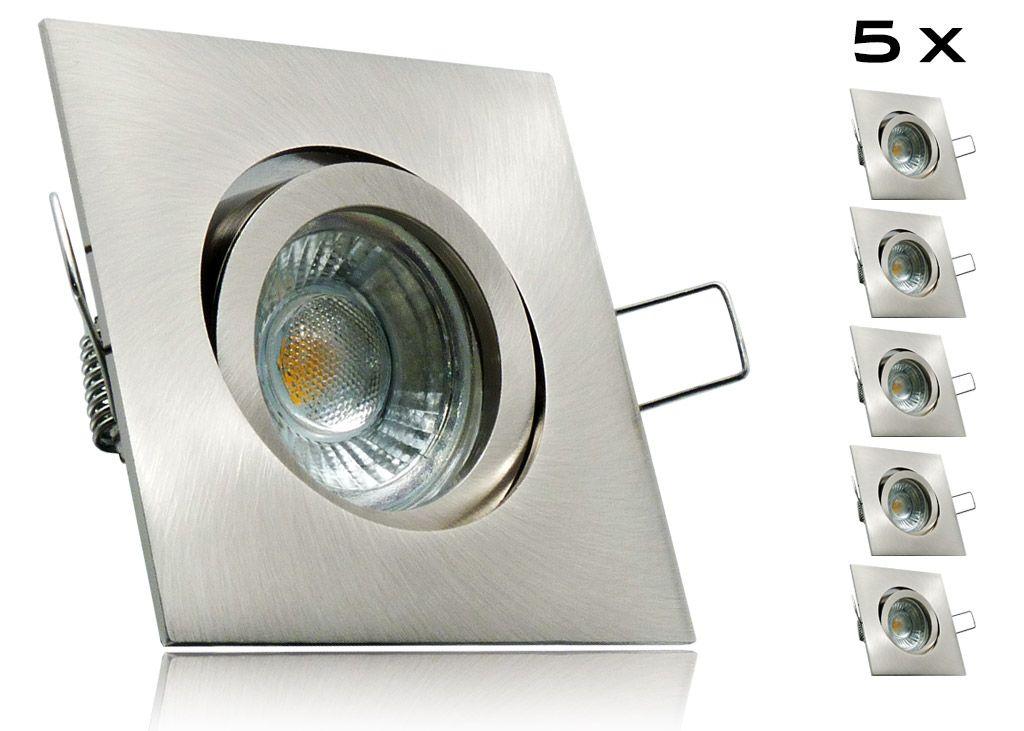 5er Led Einbaustrahler Set Mit Marken Gu10 Led Spot Lc Light 5 Watt 9 Smd Alu Druckguss Eckig Klickverschluss Mit Bildern Led Einbaustrahler Led Led Spots