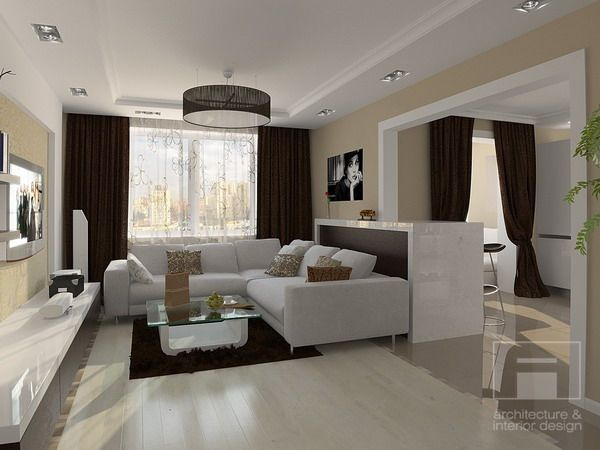Love the white sectional, and decorative drum light | Home ...