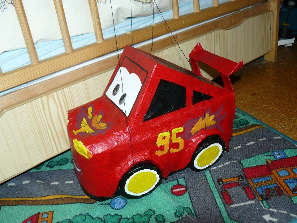 Lighting McQueen - made of recycled plastic and cardboards.