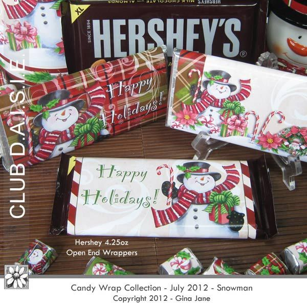 Hershey Wrappers - Happy Holidays Snowman Artwork Super easy - hershey wrappers