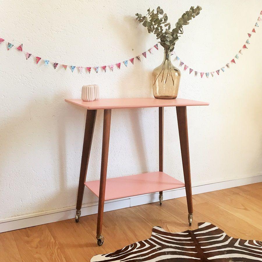 Table Gueridon Vintage En Bois Des Annees 60 Relooke