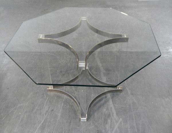table octogonale en verre vintage seventies tables baos concept store vintage et contemporain