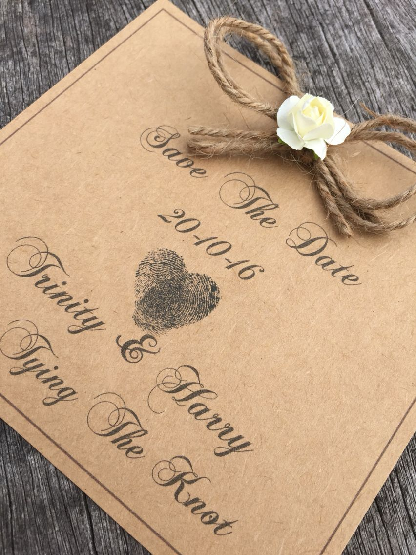 tie the knot wedding invitations etsy%0A Save the date    With fingerprints  Rustic invitations  Tie the knot