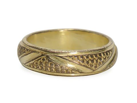 Medieval Silver Gilt  Incised Ring. Constructed of silver which has been fire gilded with gold, a common practice many centuries ago. Fire gilding is amazing for its durability which is evident as it still looks much as it would have centuries ago. Circa 15th century. http://www.georgianjewelry.com/items/show/16130-medieval-silver-gilt-incised-ring