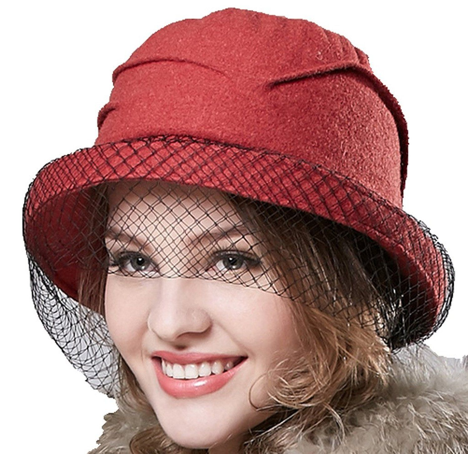 9c4f768e46b93 Supergirl Women s Wool Bucket Hat Cap Fashion Homborg Hat Veil Hat Brown at Amazon  Women s Clothing store