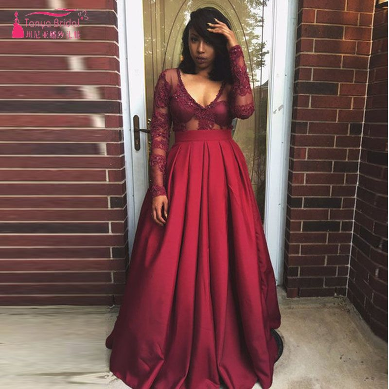 Find More Prom Dresses Information About Burgundy Long
