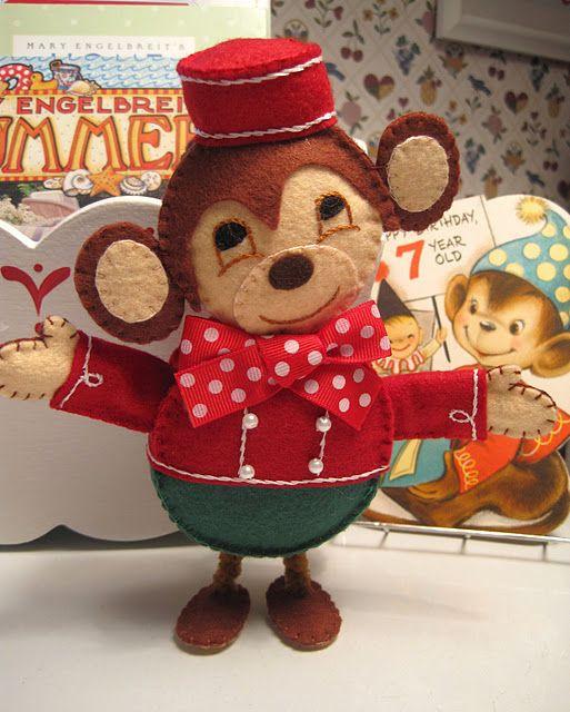 felt.... Circus monkey pattern for free | felt | Pinterest | Bären