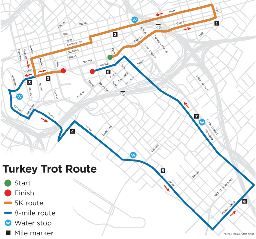 Why the different route for this year's Thanks Day Dallas YMCA ... Dallas Turkey Trot Map on