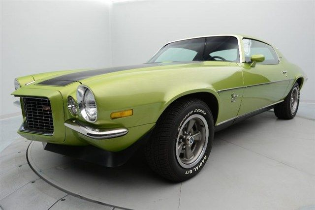 At Paramount Classic Cars 1973 Chevrolet Camaro Type Lt 46 Green Gold At A Time When Battering Ram Front Bumpers Were Chevrolet Camaro Camaro Classic Cars